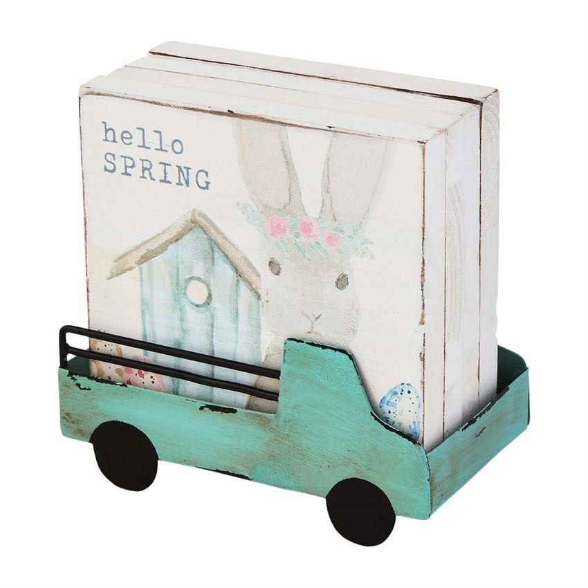 Mud Pie Wooden Bunny Coasters In Truck