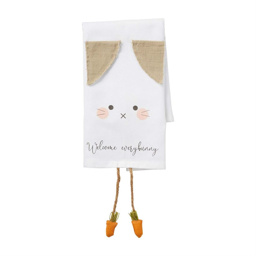 Mud Pie Welcome Bunny Dangle Leg Towel