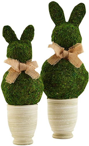 Mud Pie Small Preserved Moss Bunny Pot