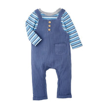 Load image into Gallery viewer, BLUE OVERALL STRIPE SHIRT SET