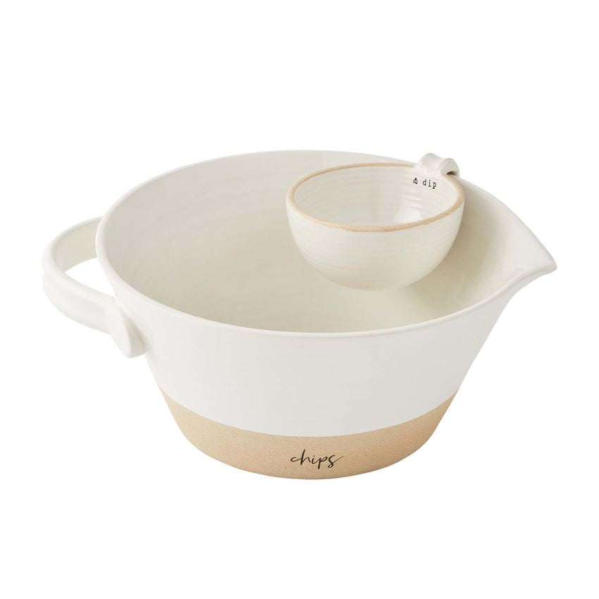 STONEWARE CHIP & DIP SET