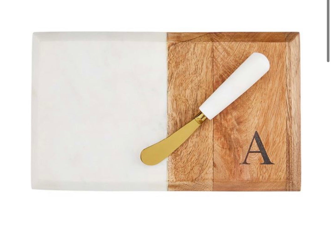 Initial Marble and Wood Board Cutting Set