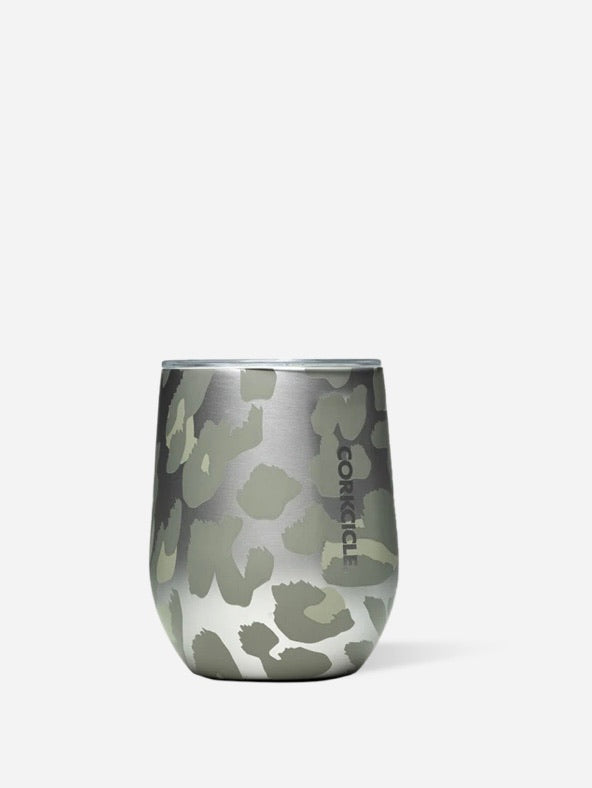 Stemless Wine Glass | Snow Leopard
