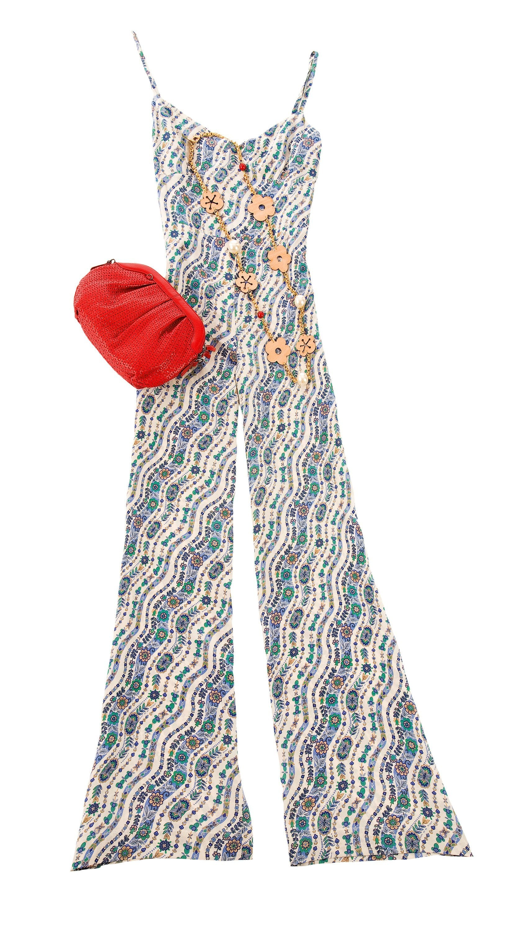 retro jumpsuit and red purse