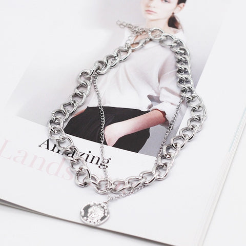 Double Layer Chain Necklace For Women - E-Nas