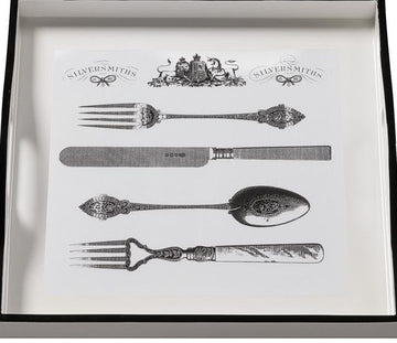 Tray (Small Square): Cutlery on White