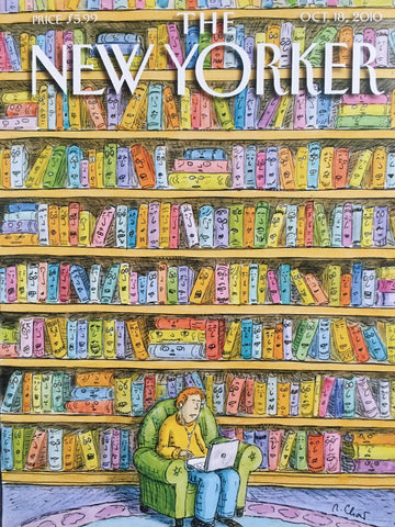 Card (The New Yorker Cover): Laptop in a Library