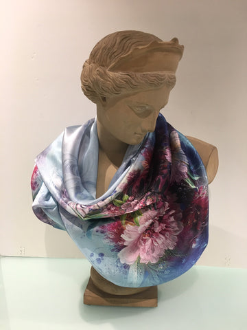 Scarf (Silk): Floral Bouquet on Blue TTP90