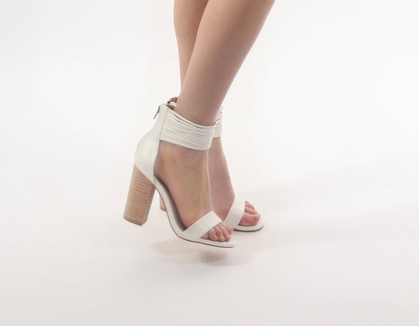 Leah Leather Wrap Heels // White