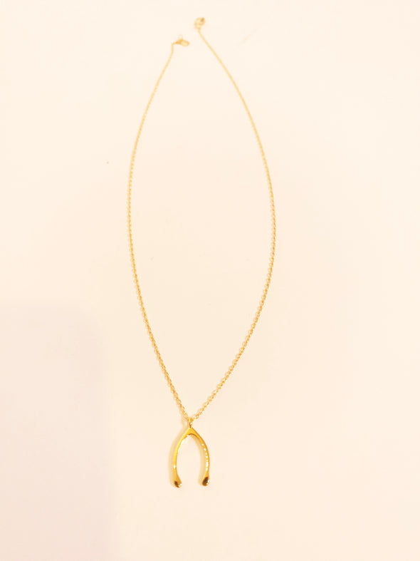 Make A Wishbone Pendent Necklace // Gold