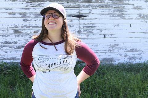 Upcycled Montana Map Baseball T-Shirt - Women's Medium