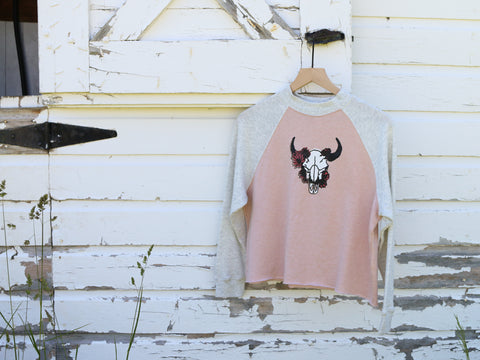 Upcycled Bison Skull Bitterroot Crown Cropped Crew Neck Sweater - Women's Medium