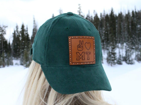 Peace Love Montana Dark Green Corduroy Dad Hat
