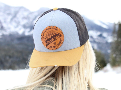 Gray & Golden Trucker Snapback Montana Hat - The Air's Fresher Up Here