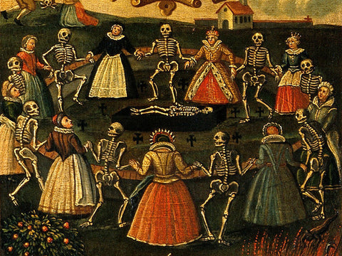 A detail from an 18th-century oil painting depiction of the Dance of Death. WELLCOME IMAGES, LONDON/ CC BY 4.0