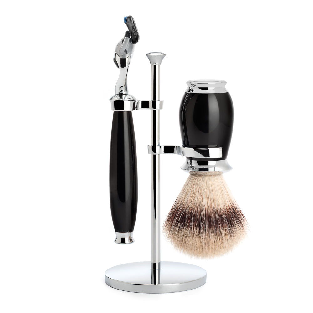 SOPHIST - Shaving set of MÜHLE, silvertip badger, with Gillette® Fusion™, handle material made of high-grade resin black