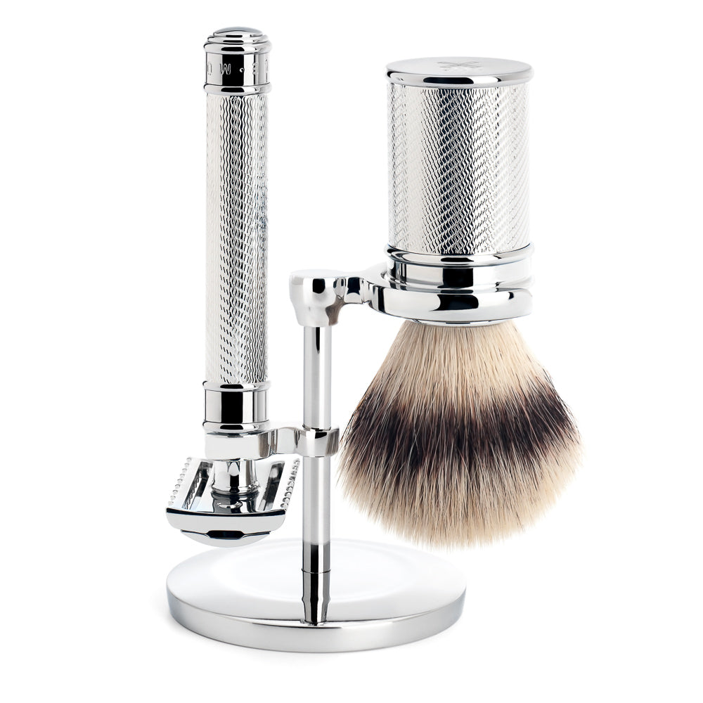 TRADITIONAL - Shaving set from MÜHLE, Silvertip Fibre®, with safety razor, handle material metal