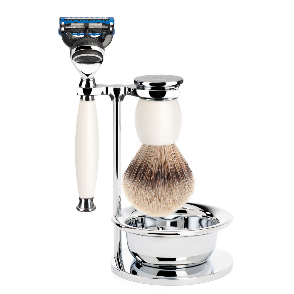 SOPHIST - Shaving set of MÜHLE, silvertip badger, with Gillette® Mach3®, handle material made of porcelain