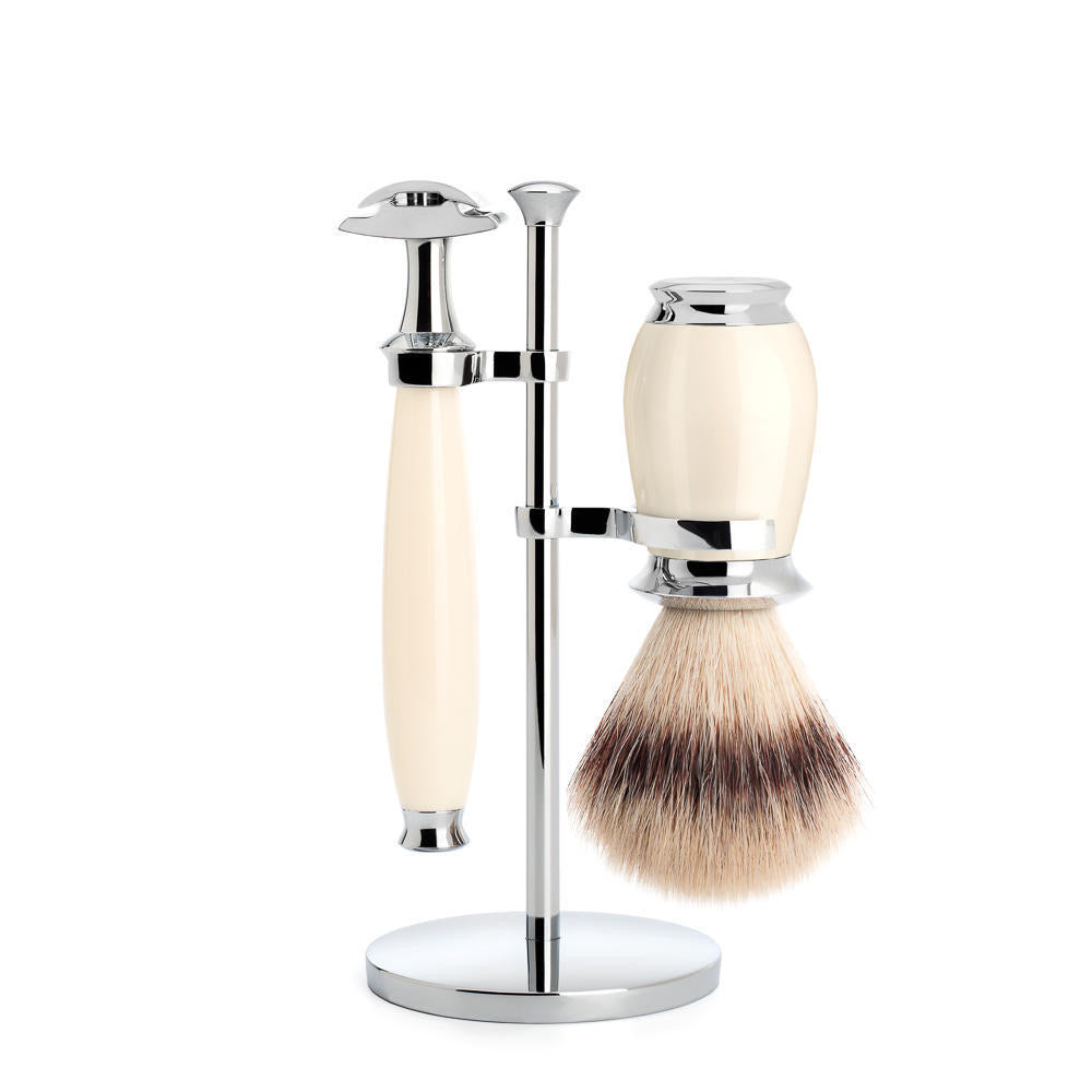 PURIST - Shaving set of MÜHLE, Silvertip Fibre®, with safety razor, handle material made of high-grade resin ivory