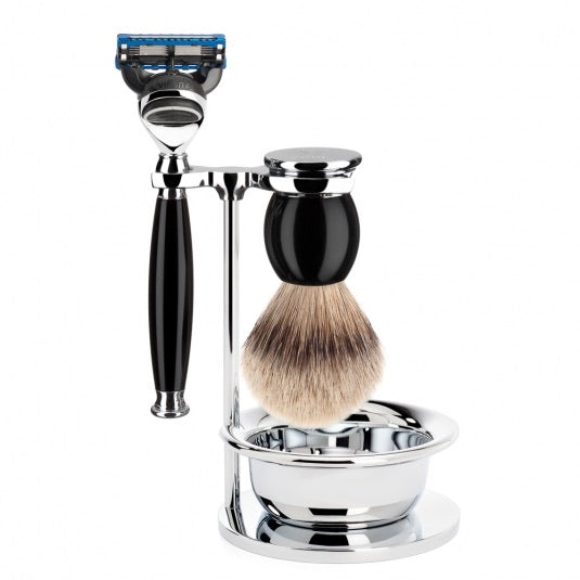 Shaving set of MÜHLE, silvertip badger, with Gillette® Fusion™, handle material made of high-grade resin black
