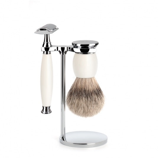 SOPHIST - Shaving set of MÜHLE, silvertip badger, with safety razor, handle material made of porcelain