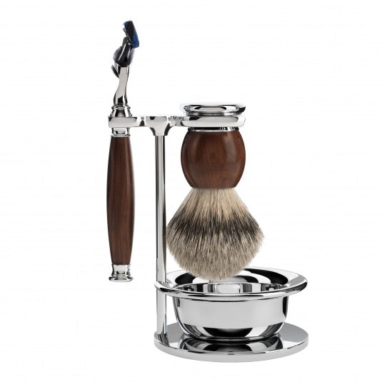 Shaving set of MÜHLE, silvertip badger, with Gillette® Fusion™, handle material made of ironwood