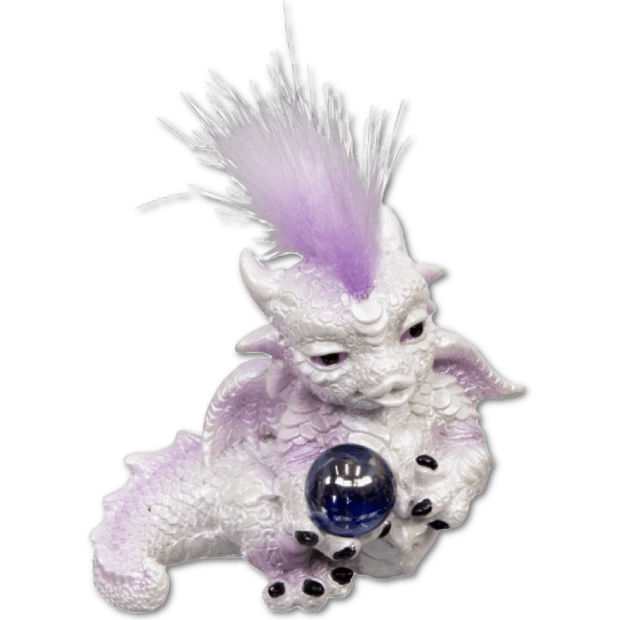 Baby Dragon Figurine w/Sphere - White and Purple