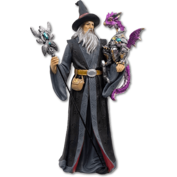 Wizard and Armored Dragon Statue