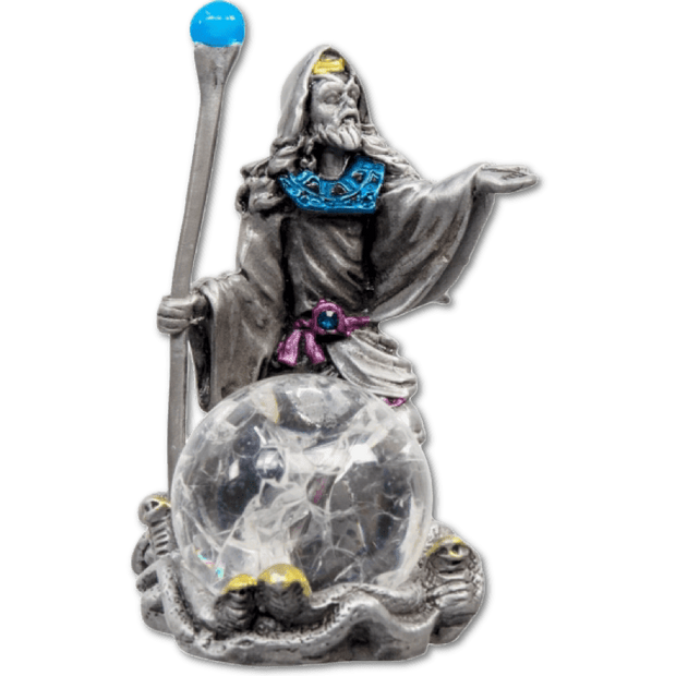 Zinc Wizard with Crackle finished Glass Sphere