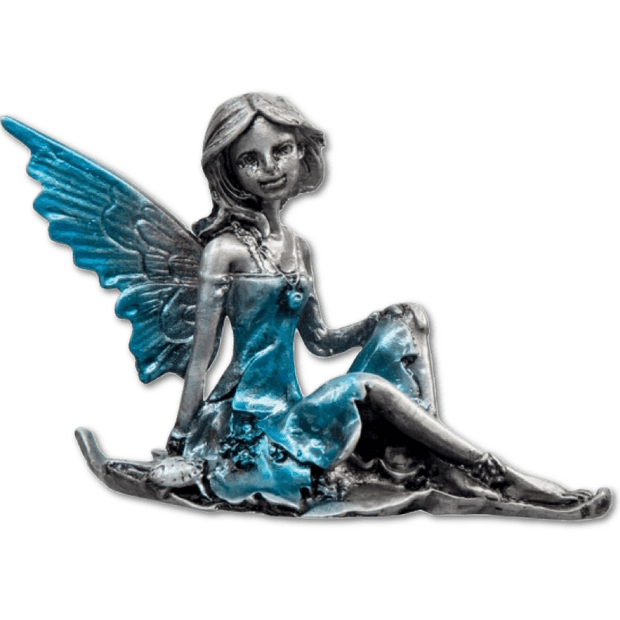 Zinc fairy sitting on a leaf - So cute
