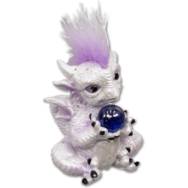 Baby Sitting Dragon Figurine w/Sphere - White and Purple