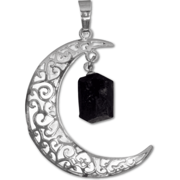 Moon Pendant with Black Tourmaline