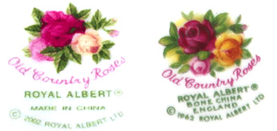 One of the post-2002 overseas backstamps on the left compared to a made in England backstamp on the right.
