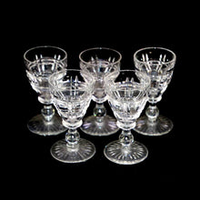 Load image into Gallery viewer, Vintage Stuart Crystal art deco set of 5 crystal stemmed shot glasses