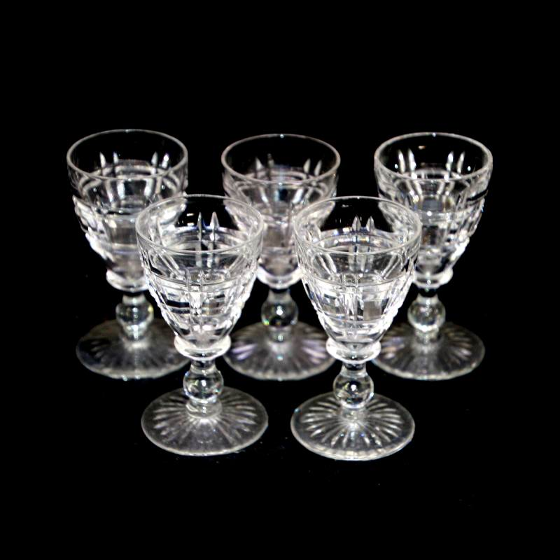 Vintage Stuart Crystal art deco set of 5 crystal stemmed shot glasses