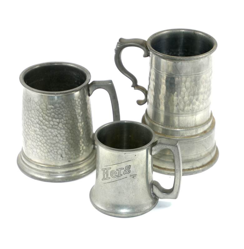 Vintage group of 3 pewter tankards one with glass base Huntly Melbourne