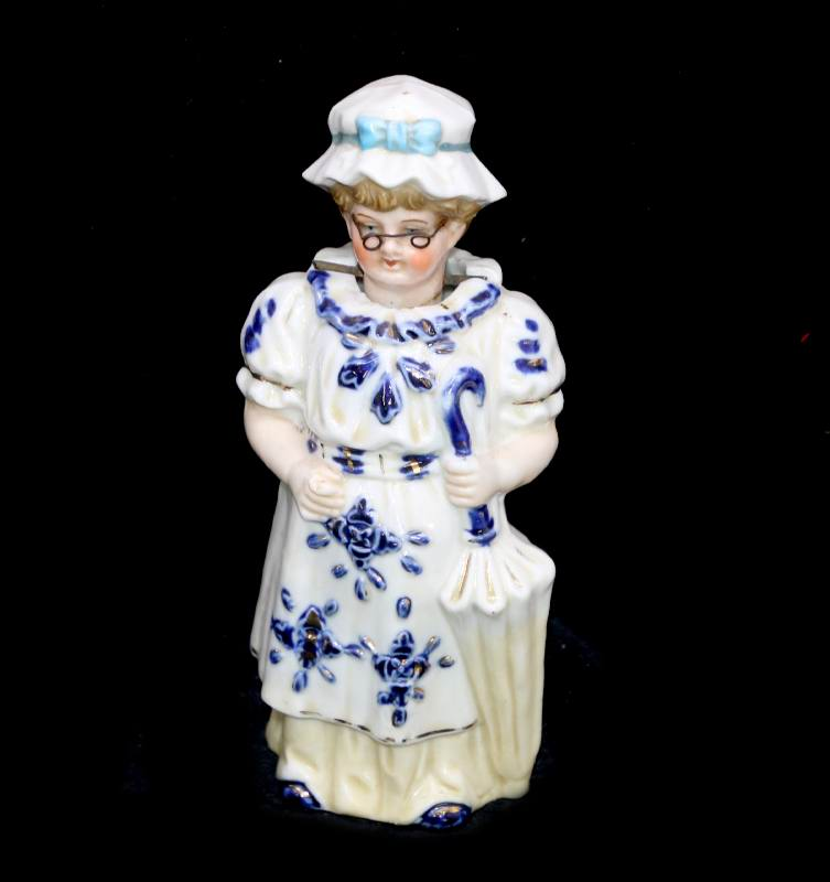 Antique Staffordshire style nodding nodder lady figurine with glasses