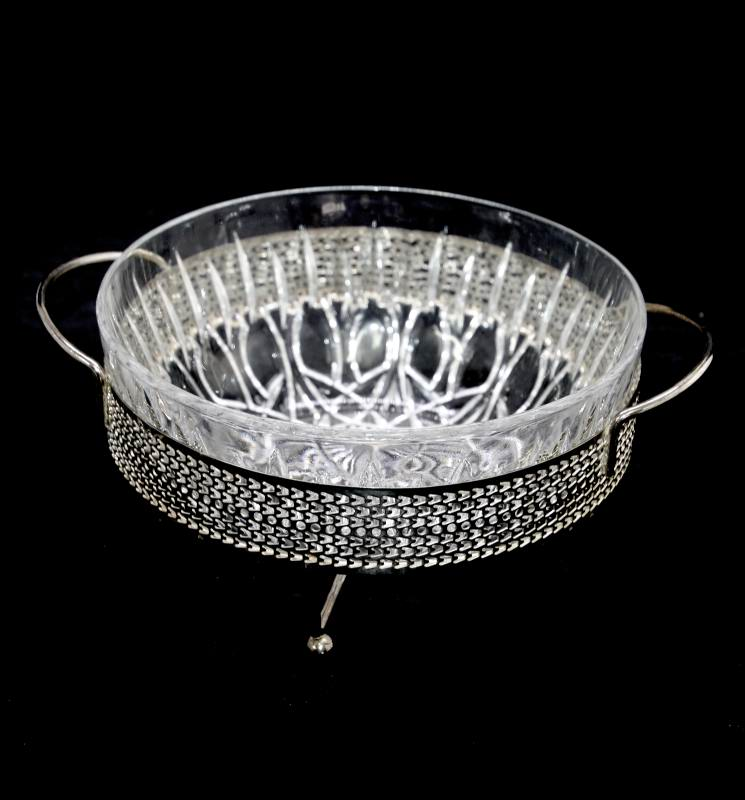 Vintage sparkly glass bowl in silver plated three footed holder basket