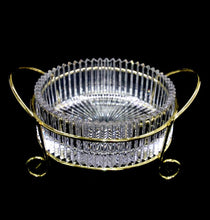 Load image into Gallery viewer, Vintage exquisite crystal sun rays bowl in gold tone metal holder