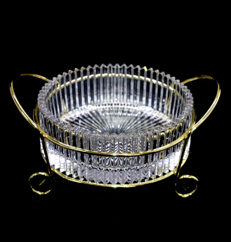 Vintage exquisite crystal sun rays bowl in gold tone metal holder