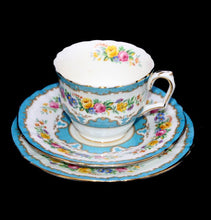 Load image into Gallery viewer, Vintage Crown Staffordshire exquisite turquoise & floral teacup trio set