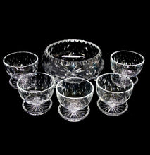 Load image into Gallery viewer, Vintage stunning quality cut crystal master bowl & 5 comport sundae bowls