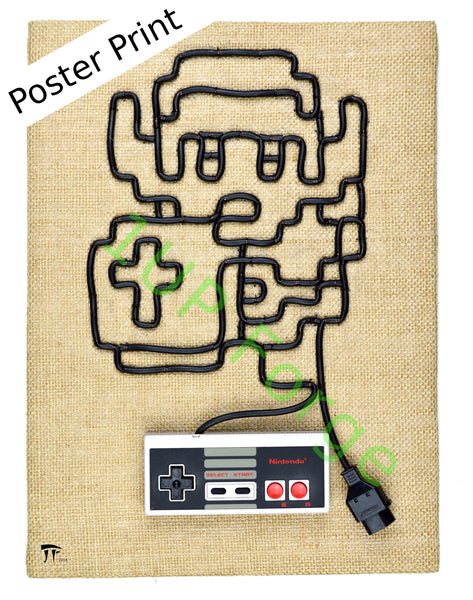 Legend of Zelda Poster Print - Link Art Print - Nintendo NES Video Game Poster