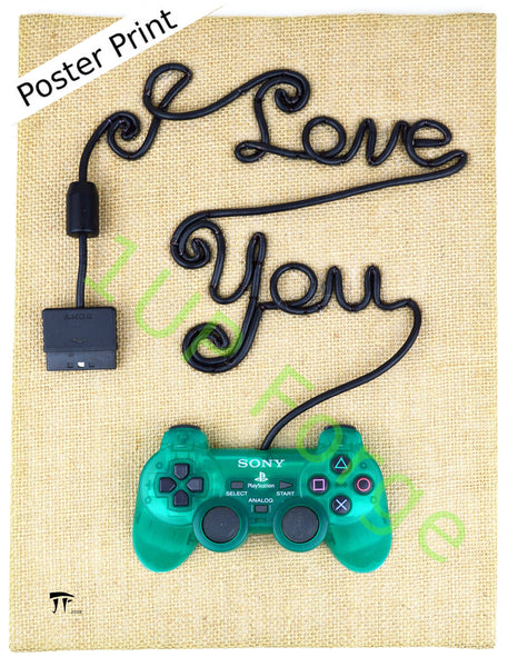 PlayStation Poster Print - I Love You Art Print - PS1 Video Game Poster