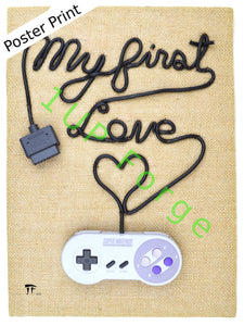 SNES Super Nintendo Poster Print - My First Love Art Print - Video Game Art