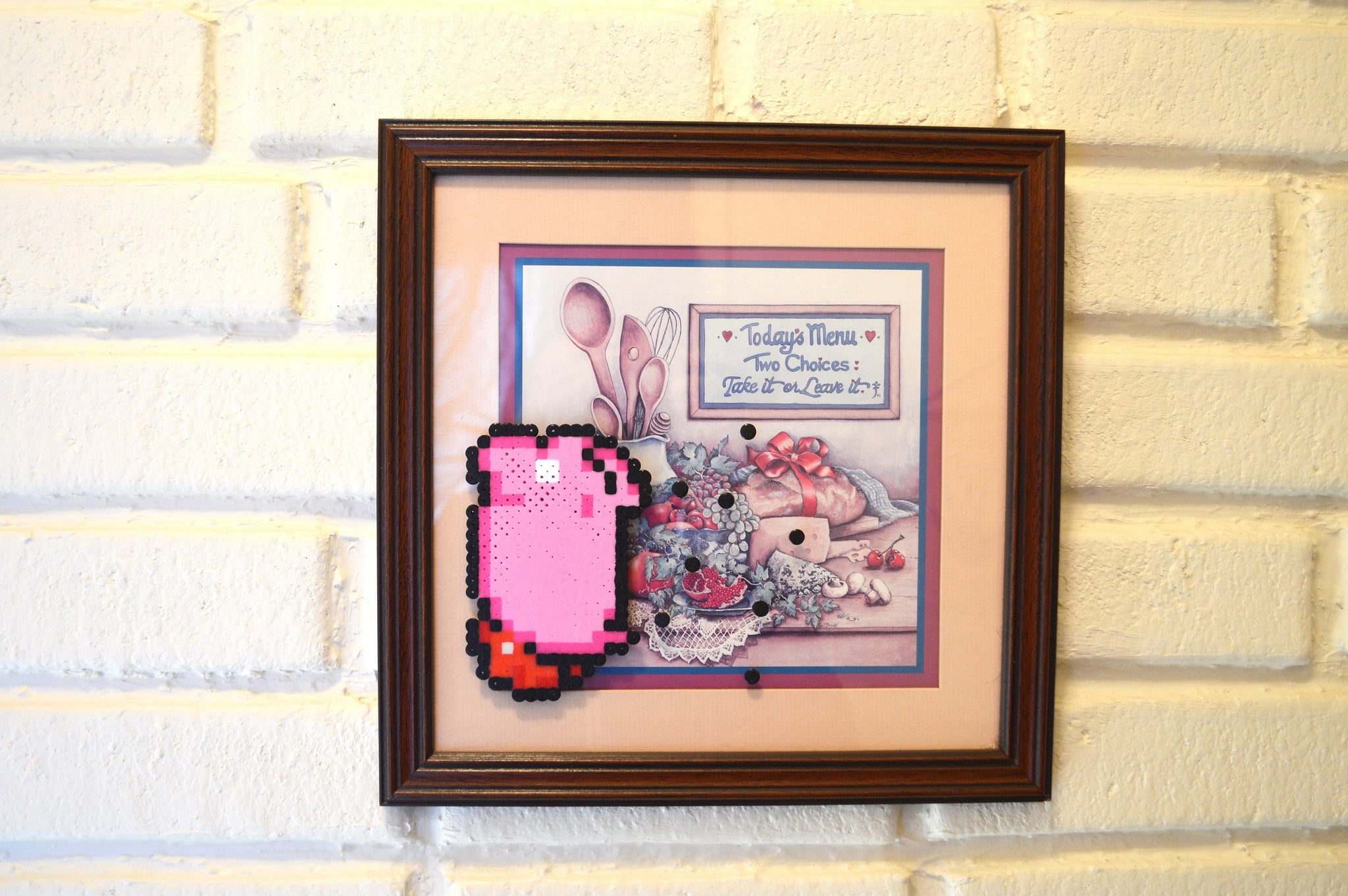 Kirby Pixel art - Perler bead reclaimed painting alteration original artwork