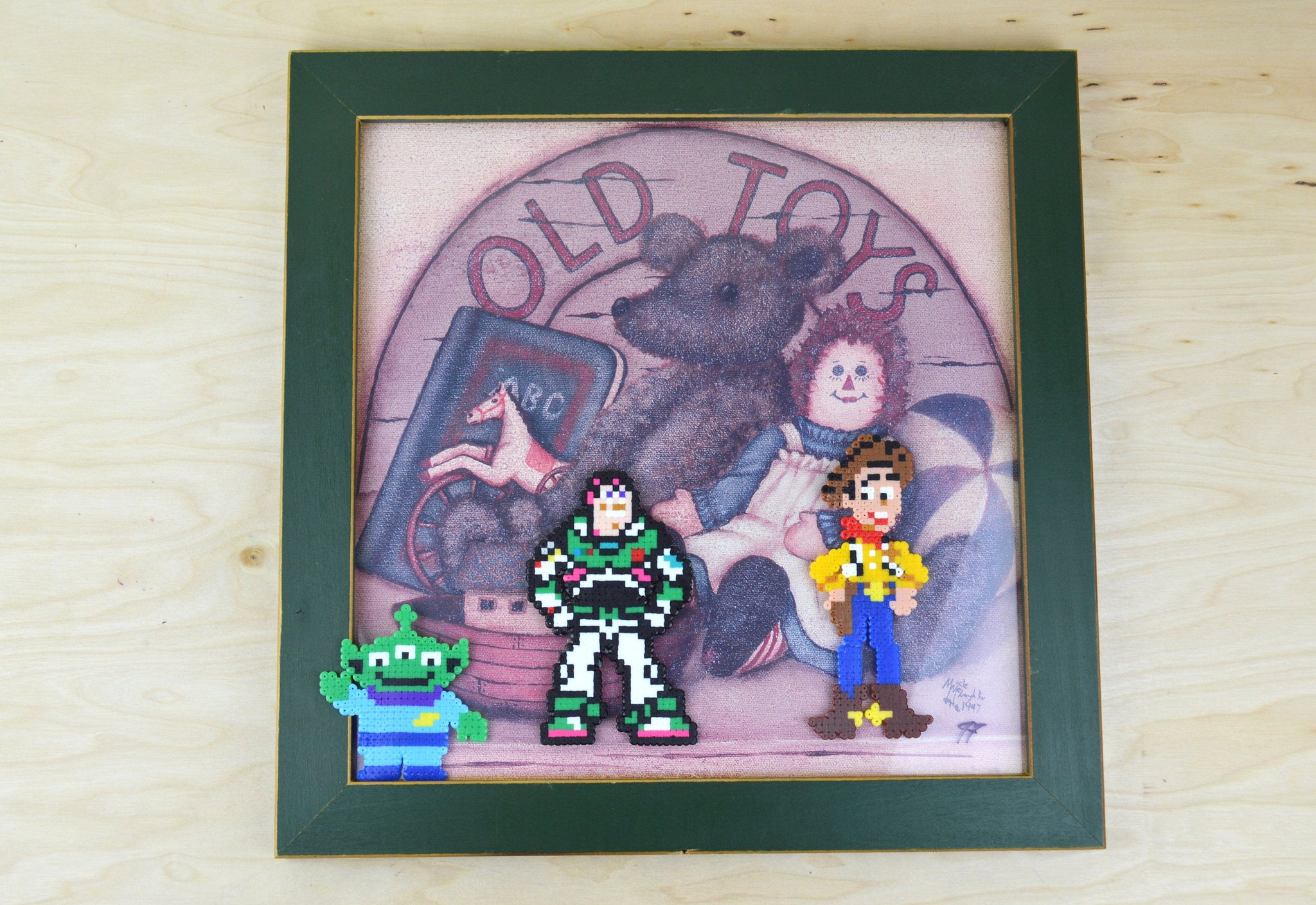 Toy Story Pixel art - Perler bead reclaimed art work alteration original artwork