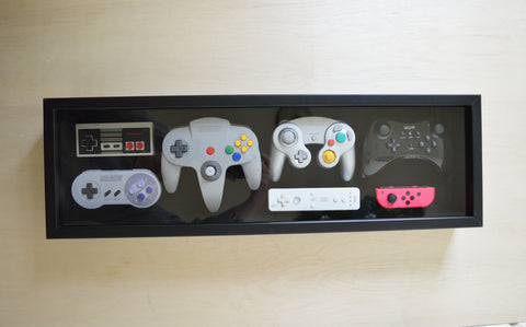 Nintendo Controller History Art Shadow Box With Glass