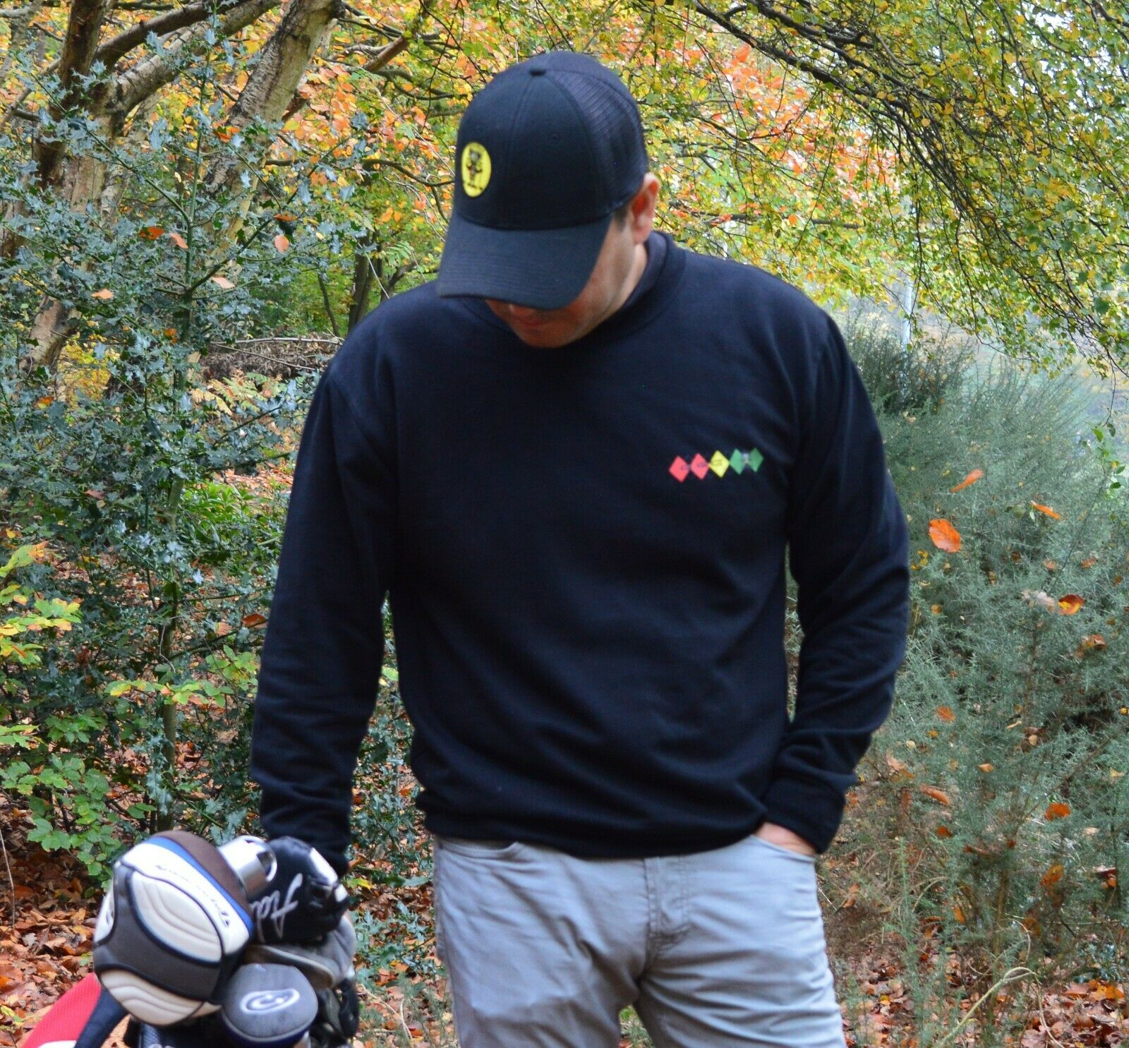 GGC Diamond Logo Black Golf  jumper