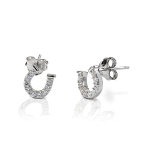 Kelly Herd Clear Horseshoe Earrings - 14k Gold